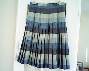PREPPY VINTAGE  SKIRT 1970s Blue  Pleated Wool  Trendy Plaid