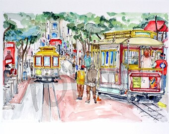 San Francisco.California. Cable Cars. Original watercoloe painting,