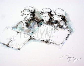 The boys read. Original watercolor painting.