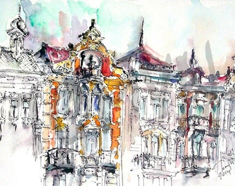Lviv. Architecture of the Cathedral Square.Print  from original watercolor.