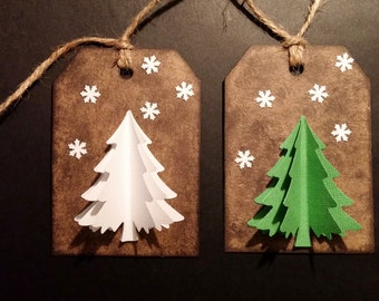 Christmas Gift Tags with 3 dimensional tree and snowflakes; Set of 6