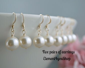 Pearl earrings Bridesmaid earrings Five 5 pairs of earrings Bridesmaid gift Wedding earrings Swarovski 10mm pearls 14k gold filled jewelry