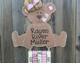 Hospital Door Hanger, Teddy Bear Door Hanger,  Nursery Wall Art with Birth Announcement