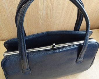Vintage 1960's Navy Blue PVC Handbag - Nice!!