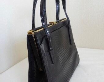 Vintage Black Snakeskin 1950's Kelly Style Handbag - Nice!!