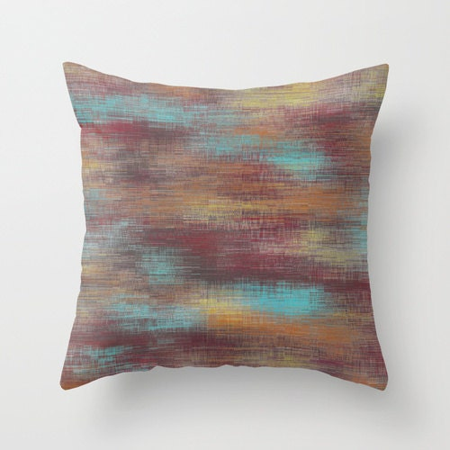 Southwestern Pillows And Throws : Southwestern Abstract Throw Pillow Cover Aqua Burgundy Orange
