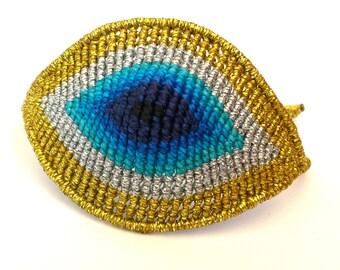 Huge Evil Eye, Macrame Bracelet, Micromacrame Jewerly