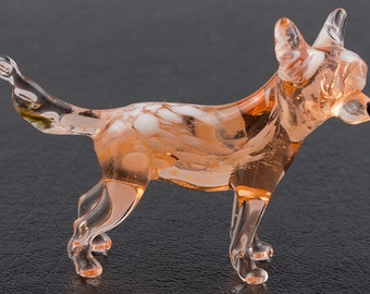 Chinese Crested Dog Art Lampwork Blown Glass Figurine