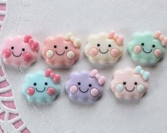 7 Pcs Happy Pastel Cloud Cabochons - 24x20mm