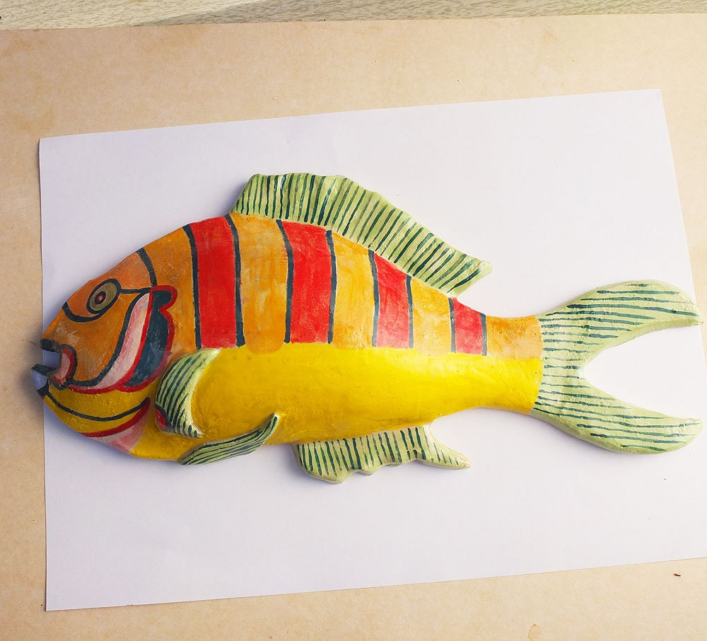 Wall Art - Ceramic fantasy Fish - Skulptural wall decoration ...