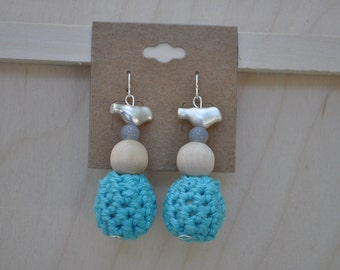 Earrings - Crochet Jewelry - Blue - Bird