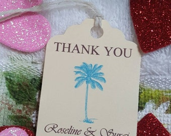 Personalized Beach Favor Tags 2 1/2'', Wedding tags, Thank You tags, Favor tags, Gift tags, Bridal Shower Favor Tags, Palm tree, welcome tag