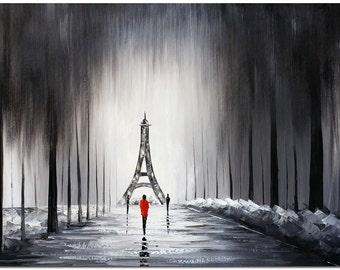 Paris Pursuit - Hand Painted Impressioist Tower Landscape Painting On Canvas