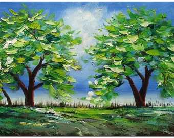 Landscape of Abstract Trees - Signed Hand Painted Palette Knife Tree Oil Painting On Canvas