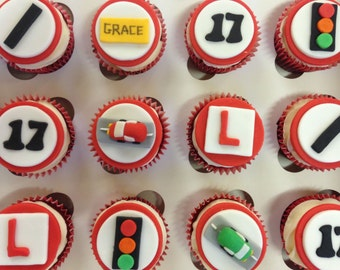Learner Driver Cupcake Toppers - fondant cupcake toppers uk