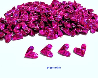 100pcs Pink Color Mini Size 3D Origami Hearts LOVE. (4D Glittering paper series). #FOH-142.