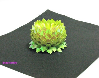 A piece of Small Size Yellow Color Origami Lotus. (AV paper series). #FLT-162.