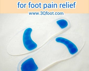 full length silicone insoles, shoe insert. (Soften Silicon Gel Material increases your feet standing time)