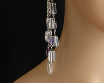 Elegant Crystal and Amethyst Long Earrings