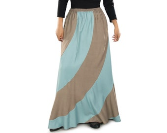 Dual Color Sakeenah Khaki-Sky Blue Long Skirt AS017 Islamic Formal, Daily and Casual Wear Made In Rayon Fabric, Muslim Women Skirt