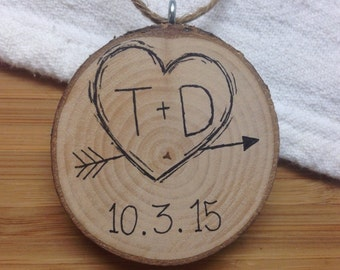 Rustic Wedding Christmas Tree Ornament / Custom Wedding Date and Initials / Heart & Arrow Wood Tree Slice /  Personalized / Gift for Couple