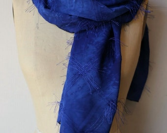 """Scarf, Deep Blue with """"Fireworks"""" embroidery detail"""