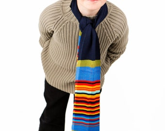 Boys Scarf, Personalised  Scarf, Striped Scarf, Children's Scarf, Kids Scarf, Navy Scarf, Colourful Scarf, Winter Scarf, Cotton Scarf,  203