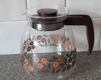 Retro ditsy glass coffee pot