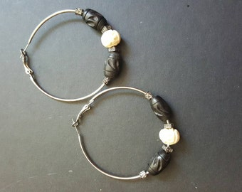 Earth Tones Collection: Small Silver Hooped Earrings W/ Wooden Beads