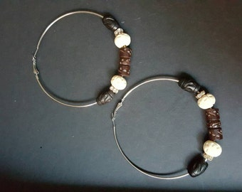 Earth Tones Collection: Big Silver Hooped Earrings W/ Wooden Beads and Sparkle