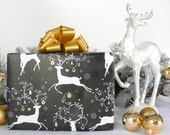 Dancing Deer Christmas Wrapping Paper, 10 Ft. x 2 Ft. Roll, Black, White and Gold Stag Masculine Gift Wrap,