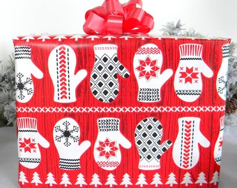 Scandinavian  Mittens Christmas Wrapping Paper, Red, White and Black Holiday Gift Wrap 10 ft x 2 ft. / 3.048 m. x .60 m. Roll