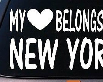 My Heart Belongs To New York Sticker Decal *E027*