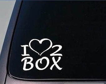 I Heart To Box Sticker *H192* 8 Inch Wide Vinyl Boxing Gloves Decal