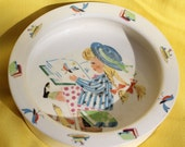 Figgjo Flint childrens bowl, girl with plaits, reading girl illustration, Norway, 1960 / 1970