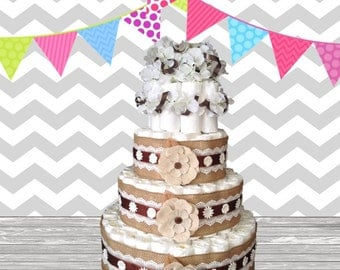 4 Tier Diaper Cake - Baby Shower Gift - Baby Shower Centerpiece - Burlap Flower Theme