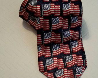 Vintage Silk American Flag Necktie