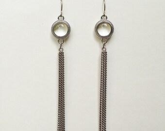 Chain Tassel Earrings, Silver Tassel Earrings, Clear Resin Thin Chain Tassel Earrings, Hypoallergenic, Bridesmaid, For Her, Resin Jewelry