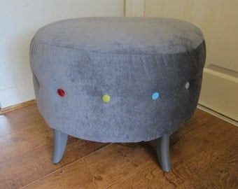 Grey semi circle foot stool - multi coloured buttons