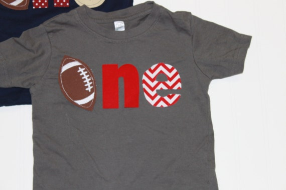 One football shirt, 1st birthday football theme shirt, boys first birthday shirt, Sports birthday theme shirt, boys clothes, red, red chevr