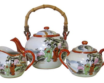 Antique Japanese Hand Painted Tea Set