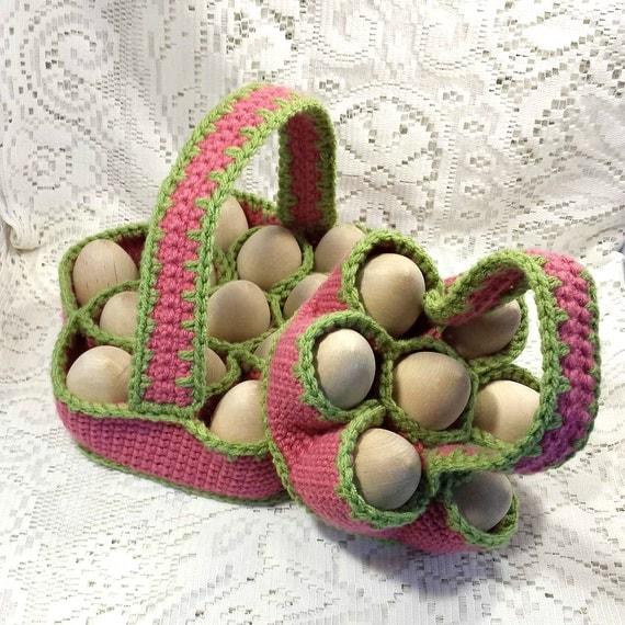 Crochet Egg Basket : Crochet Egg Carrying Baskets - Bakers Dozen Egg Basket and Egg Basket ...