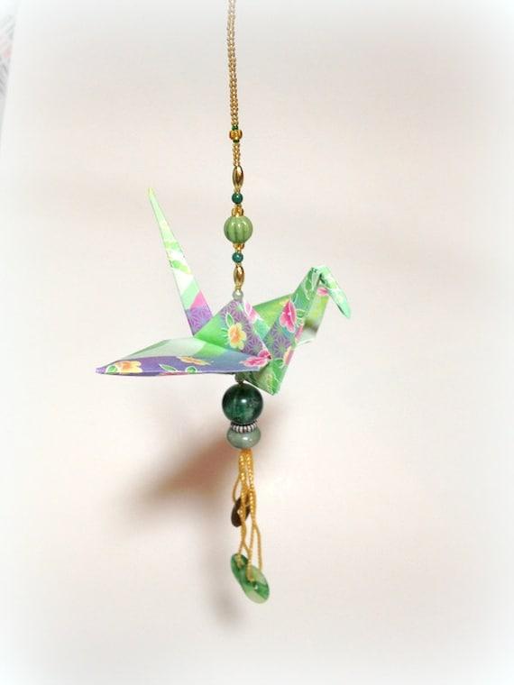 christmas origami crane christmas ornament by