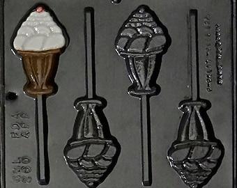 Ice Cream Sundae Lollipop Chocolate Candy Mold 260