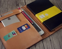 iPad Air Case Leather Portfolio Covers, Hand Sewn Large Moleskine Notebook iPad Mini Covers, Pen Slot - Hand Stitched From Veg Tan Leather