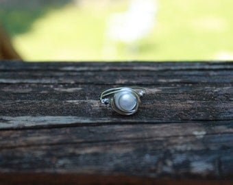wrapped pearl ring with silver wire