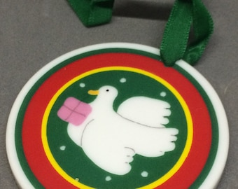 Vintage Lillian Vernon Country Christmas Porcelain Ornament Dove with Present Collectible