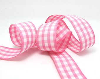 CLEARANCE 10 Yards 1 Inch Checkered Ribbon Pink and White Tartan Checkered Bow Making Decorative Embellishment Floral Bow Supplies Scrapbook