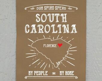 South Carolina Wall Decor Florence Sc My People My Home Printed