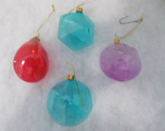 Vintage Glass Blown Christmas Ornaments Set of Four (1349)